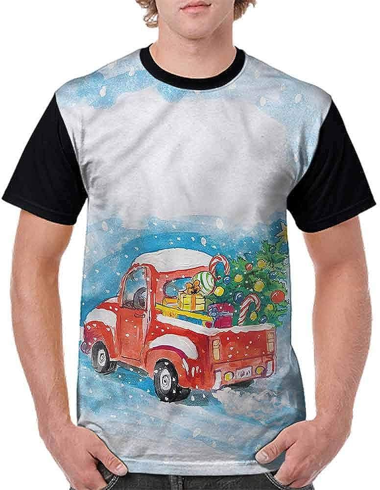 BlountDecor Trend t-Shirt,Truck Winter Scenery Fashion Personality Customization