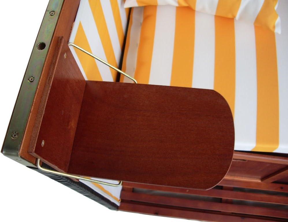 gr/ün-gestreifter Stoff Terrassen Strandkorb inkl XINRO/® XY-02 Premium Strandkorb Schutzh/ülle /& 4x Kissen Form Nordsee Strandkorb braunes Holz