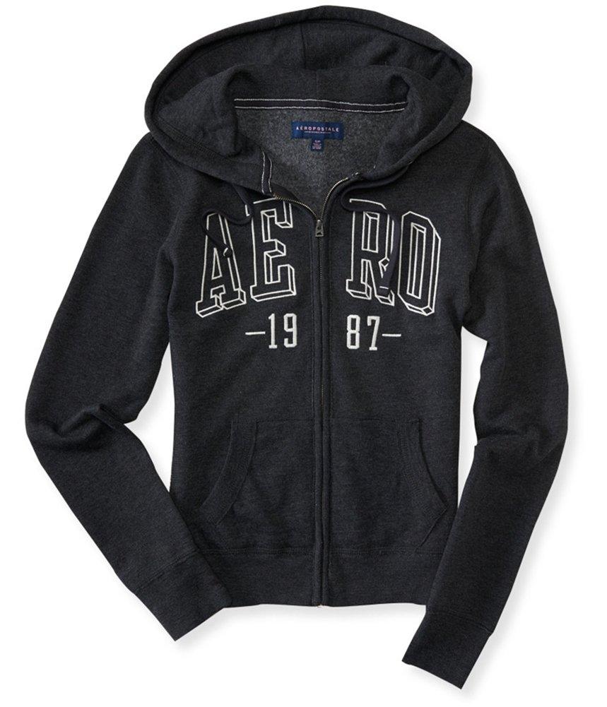 Aeropostale Womens Box Logo Hoodie Sweatshirt Black M - Juniors by Aeropostale