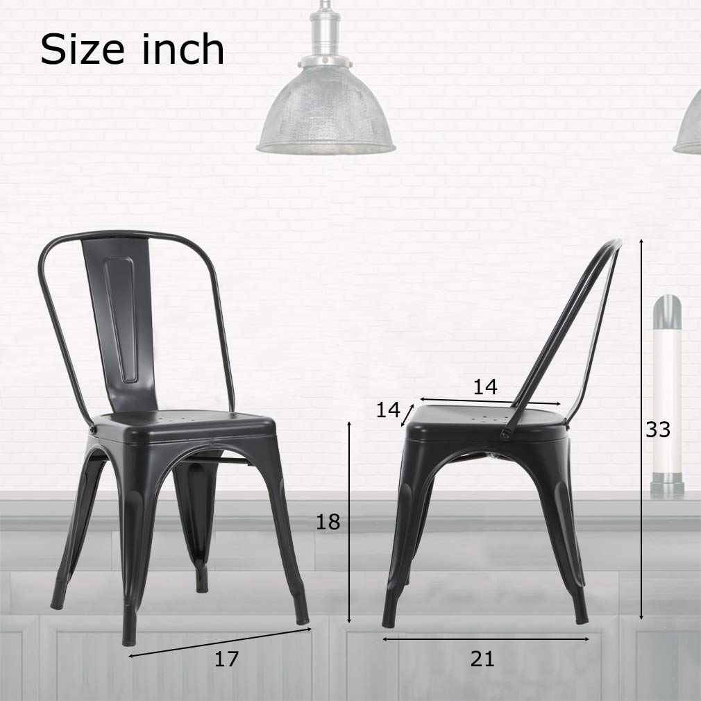 FDW Metal Dining Chairs Set of 4 Indoor Outdoor Chairs Patio Chairs Kitchen Metal Chairs 18 Inch Seat Height Restaurant Chair Metal Stackable Chair Tolix Side Bar Chairs 330LBS Weight Capacity