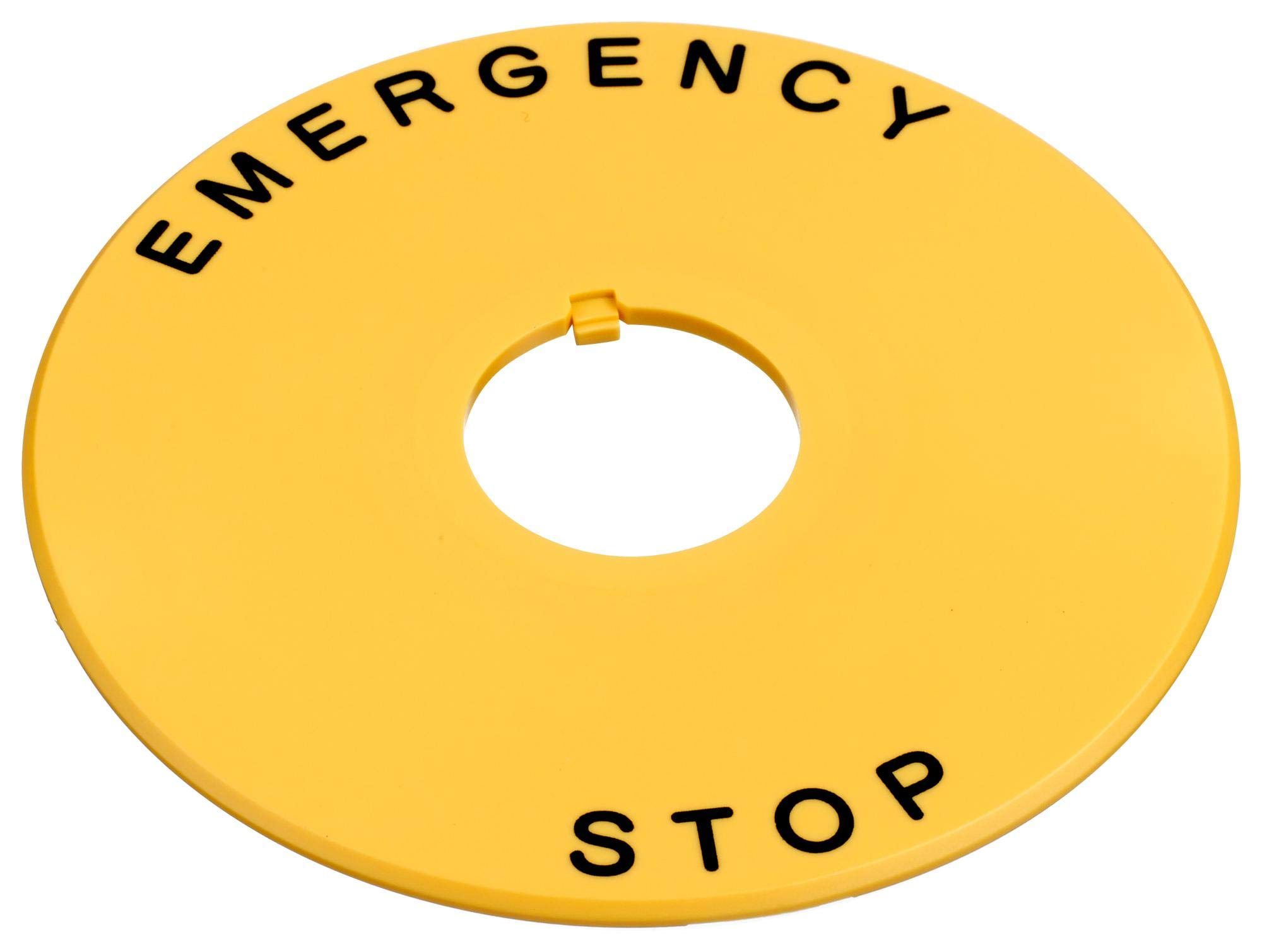 HWAV5-27 - Engraved Legend Nameplate, EMERGENCY STOP, Black on Yellow, Plastic, 80 mm OD/22 mm ID, HW Series (Pack of 5) (HWAV5-27)