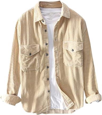 YYear Men Casual Regular Fit Polyester Soft Button Down Long Sleeve Corduroy Shirt