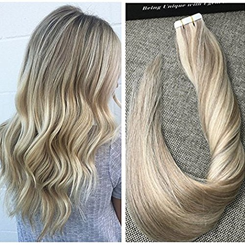 Ugeat 16inch 20pcs 50g Ash Blonde #18 Highlight #613 Blonde Dip Dyed Extensions Seamless Glue in Hair Extensions Human Hair Silky Straight Remy PU Tape in Hair Extensions Review