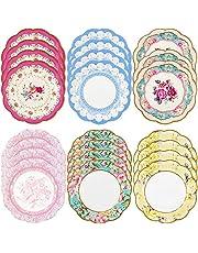 أطباق ورقية صغيرة من تاكينج تابلز مجموعة ترولي سكرامبشس، 6.75 طبق ورقي في 6 تصاميم لحفلات الشاي أو النزهات، متعددة الألوان (عبوة من 24 قطعة)