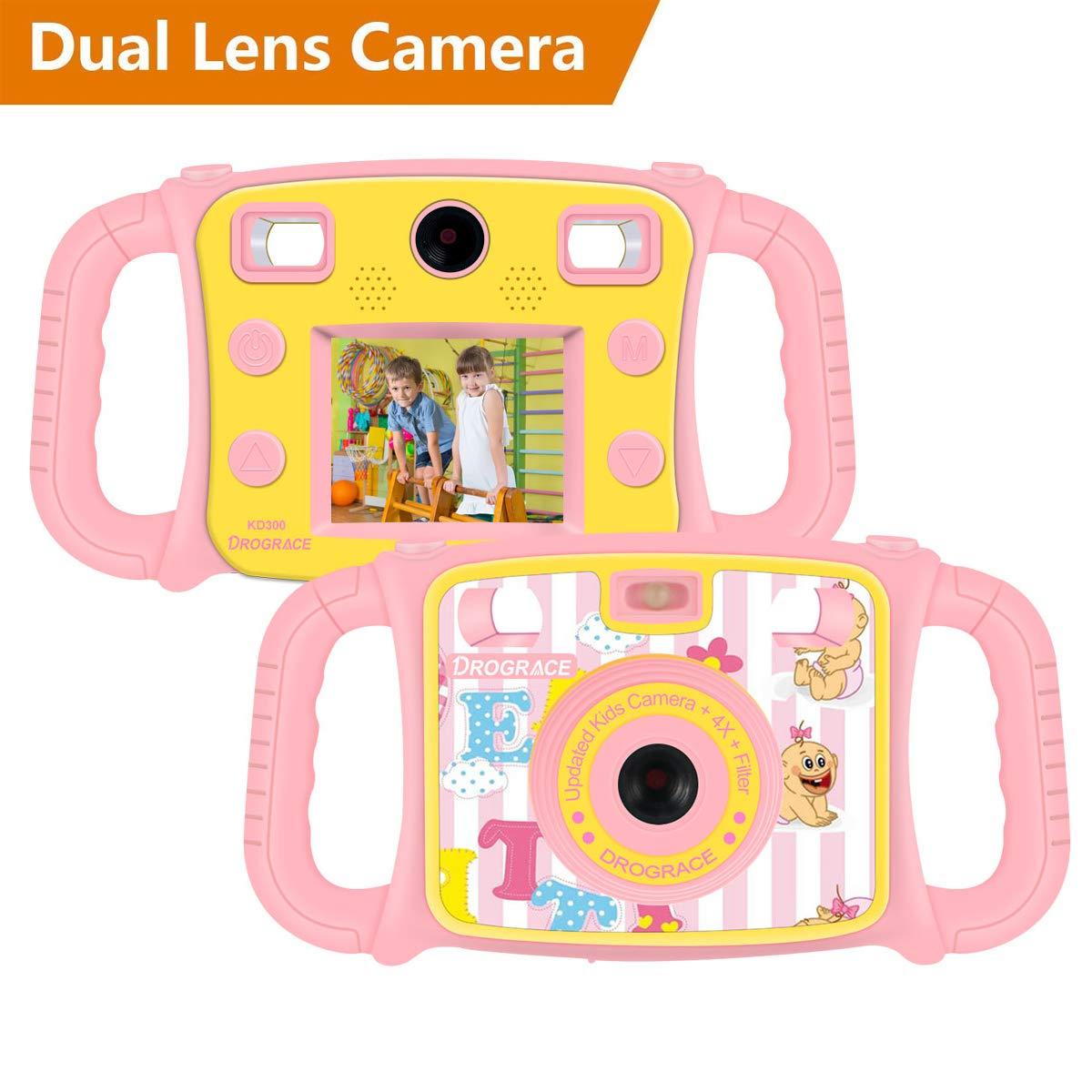 DROGRACE Enfant Appareil Photo Numé rique Camé ra avec Double Objectif 1080P HD Selfie Camera avec 4 x Zoom, Flash Lights, 2 Pouces LCD et Poigné es pour Cadeau d'anniversaire de Filles et Garç ons - Pink