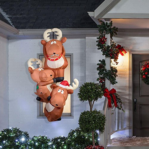 Gemmy 51.18 in. D x 29.53 in. W x 90.16 in. H Inflatable Reindeers Hanging From Roof by Gemmy (Image #3)