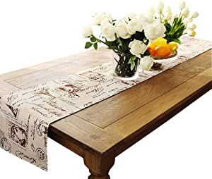 Ethomes Classic Linen & Cotton Printed Natural Table Runner Rectangular Approx 13 x 86 inches