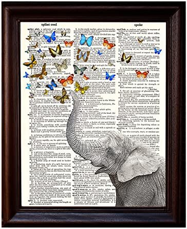 Mixed Media Poster on Vintage Dictionary Page Printed on Recycled Vintage Dictionary Paper 8.5x11 Fresh Prints of CT Dictionary Art Print Whimsical Elephant and Butterflies