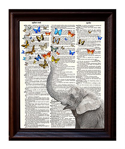 Dictionary Art Print - Whimsical Elephant and Butterflies - Printed on Recycled Vintage Dictionary Paper - 8.5x11 - Mixed Media Poster on Vintage Dictionary Page