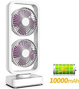 Oscillating Fan Battery Operated, Portable Fan Oscillating, Fan Battery Operated, Dual Fan Tower, Rechargeable Desk Fan Tower, Quick Charge 10000mAh Battery Quiet Fan for Home Office Camping Outdoor Activities