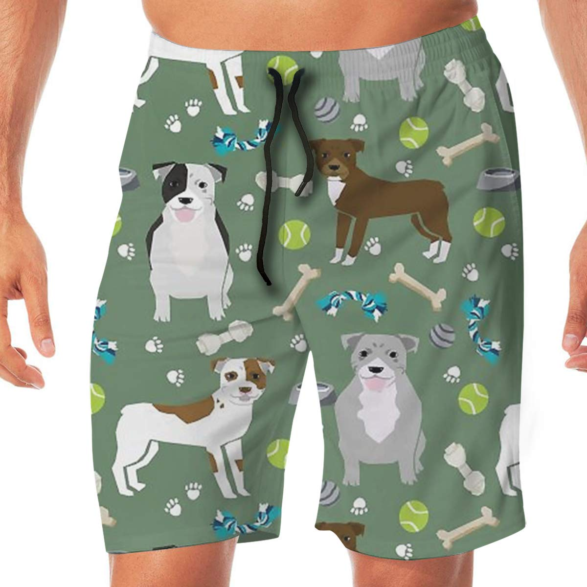 TR2YU7YT Dogs and Dog Toys Pitbulls Casual Mens Swim Trunks Quick Dry Printed Beach Shorts Summer Boardshorts Bathing Suits with Drawstring