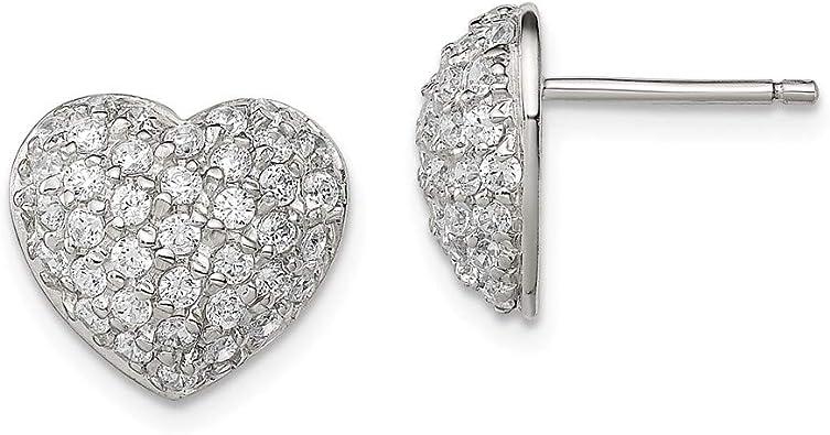 Sterling Silver Open Heart Button Stud Earrings