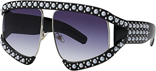 Vintage Pearl Decor Womens Fashion Sunglasses Oversized Square Frame