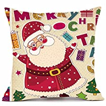"Christmas Pillow Cases, Kimloog Santa Claus and Gifts Velvet Couch Bed Home Decor 18x18 Hidden Zipper Cushion Cover (18x18"", G)"