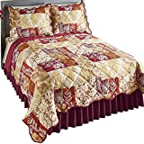 Collections Etc Briarwood Fall Leaf and Branch Quilt with Modern Country Silhouette Pattern, Diamond Quilted Stitching, Scalloped Edge, Autumn Harvest Colors, Full/Queen