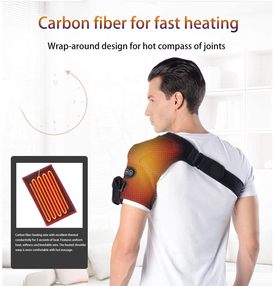 Massage Shoulder Wrap, Heated Shoulder Wrap, Heating Pad Support Brace for Shoulder Dislocation or Muscles Pain Relief