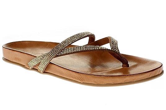 Inuovo 6056 - Damen Sandalette Pantolette Zehentrenner - gold-strass-coconut,  Größe:36 EU: Amazon.de: Schuhe & Handtaschen