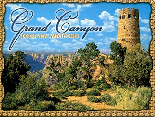American Road Traditional Trip (Grand Canyon Tower Metal Sign, Vintage Travel, Colorado, Highlighting Traditional American Destinations)