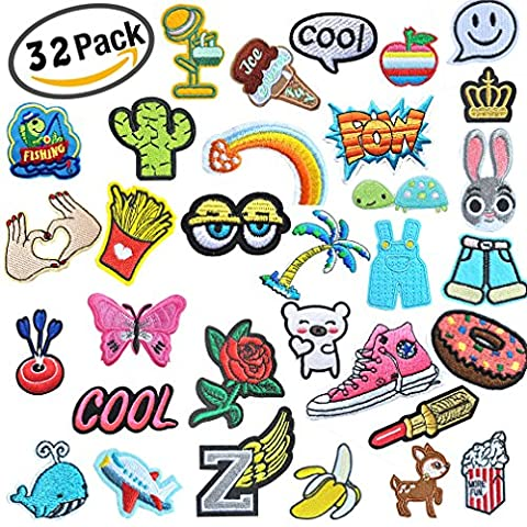 32 Pcs Iron On Embroidered Viaky 0.7-5.5 ins(2-14CM) Assorted Size Motif Applique Glitter Sequin DIY Decoration Patches Sew on Patch Perfect for - Color Shoes Pants