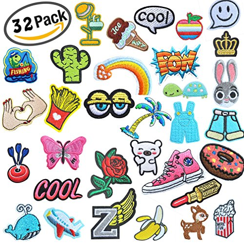 32 Pcs Iron On Embroidered Viaky 0.7-5.5 ins(2-14CM) Assorted Size Motif Applique Glitter Sequin DIY Decoration Patches Sew on Patch Perfect for Jeans,Clothing,Jacket,Handbag,Shoes (Letter Patch Set)