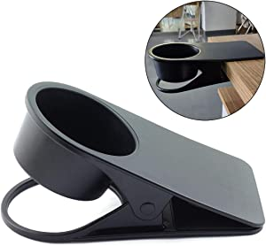HJ Garden Black Plastic Drinking Cup Holder Clip for Home Office,Water Drink Coffee Bottle Holder Clamp Saucer Table Desk Side Clips