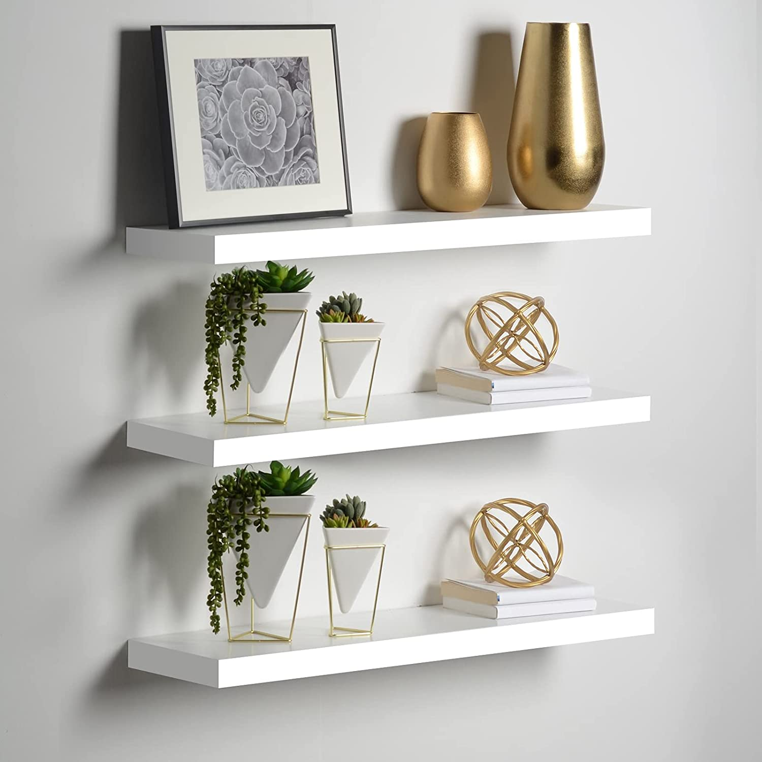 Wood Wall Floating Shelf,Fashion Storage Organizer Shelves for Home Living Room Bedroom Study Decoration,Wall Shelf Set with Hidden Brackets Wall Mounted Floating Shelves,White