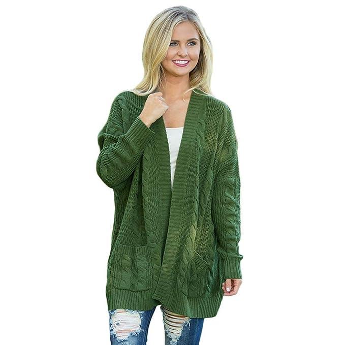 Chaqueta punto mujer verde militar