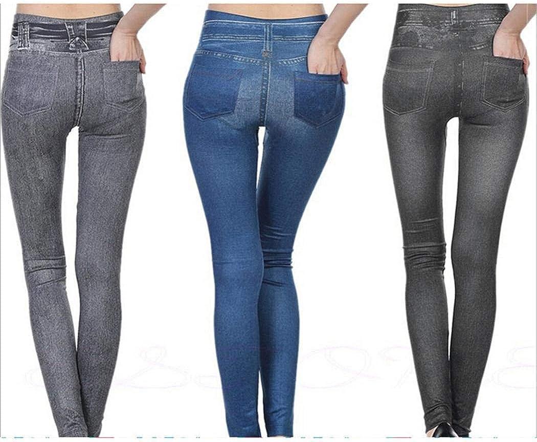 Benlet Women Casual Solid High Waist Ankle Length Slim Leggings Stretch Pants Leggings