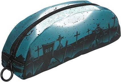 Estuche para lápices de bate de cementerio de Halloween con cremallera, bolsa de maquillaje pequeña para niños y adolescentes: Amazon.es: Oficina y papelería