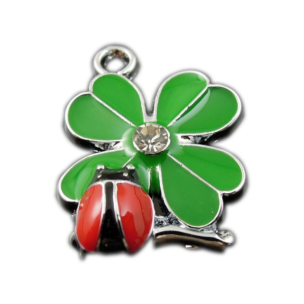 GraceAngie 20pcs Green And Red Color Clover and Ladybug Flower Enamel Pendant Charms Finding