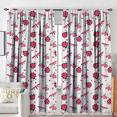 Living Room Curtains Ladybugs,Domed Back Round Ladybugs with Hearts Flowers Dragonflies Romantic Wings Pattern,Red White,Darkening and Thermal Insulating Drapes 54