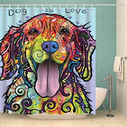 - dog is love 3D print design bathroom colorful cartoon dog shower curtain with hook rust metal buttonhole shower curtain moldproof waterproof antibacterial polyester cloth shower curtain 70