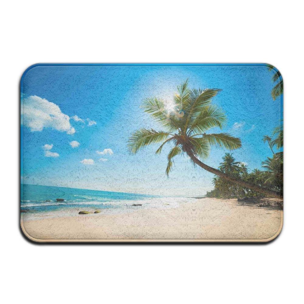 Caribbean Sea Beach Coconut Tree Bath Mat - 1 Piece Memory Foam Shower Spa Rug 18X36 Bathroom Kitchen Floor Carpet Home Decor With Non Slip Backing - 3 Sizes