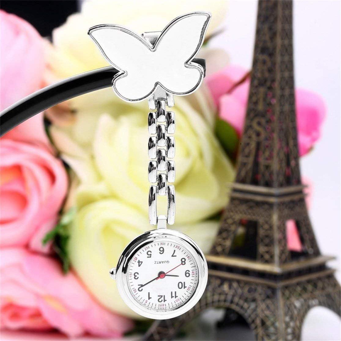1 STÜCKE Tasche Medical Nurse Fob Uhr Frauen Kleiden Uhren 4 Farben Clip-on Anhänger Hängen Quarzuhr Schmetterling Form Weiß Kaemma White
