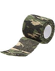 Camuflaje Militar Cinta elastico - TOOGOO(R) Cinta Sigilo elastico Wrap de Campana Ciclismo Caza Camuflaje Militar al Aire Libre Reutilizable 5CMx4.5M (Camuflaje 1)