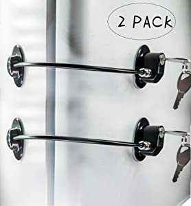 2 Pack Refrigerator Door Locks with 4 Keys, File Drawer Lock, Freezer Door Lock and Child Safety Cabinet Locks by REZIPO BLACK