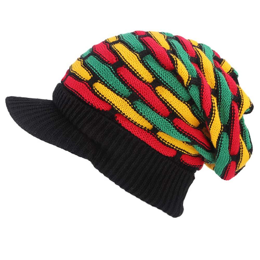 e4c0d1d220b HZYFP Knitted Crochet Jamaican Rasta Hat Winter Warm Wool Slouchy Beanies  Hats for Women Men at Amazon Women s Clothing store