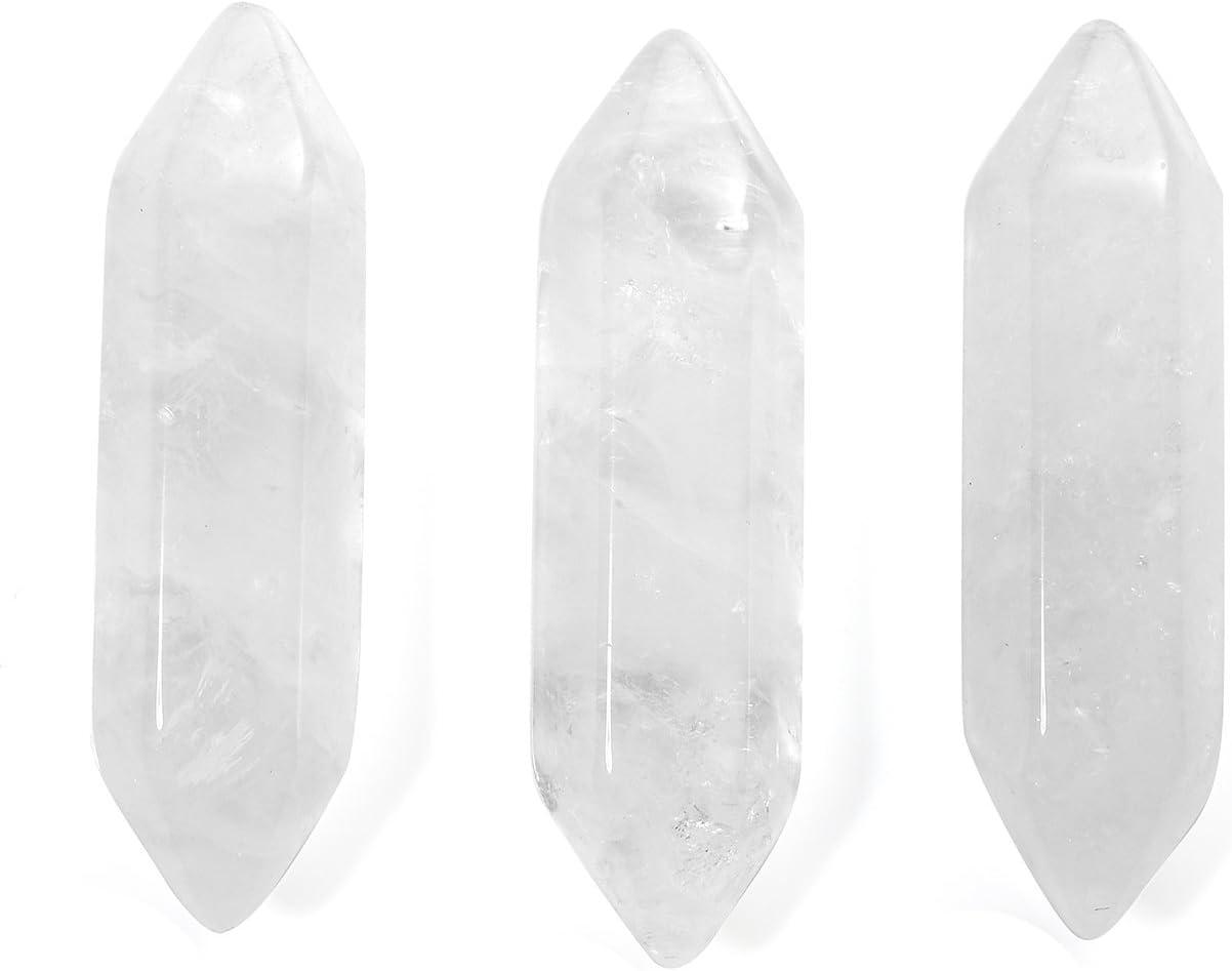 Jovivi - Kit de varitas curativas de cuarzo para 7 chakras de 30mm, 3-8 unidades, piedra, Cuarzo de cristal transparente.