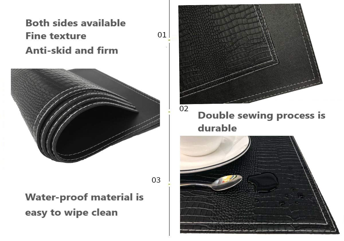Heat Resistant Stain Resistant Set of 4 PU Table Mats Jovono Faux Leather Placemats Non-Slip Easy to Clean for Kitchen Dining Table,Conference Table Waterproof
