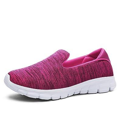 JACKSHIBO Damen Low-Top Mesh Sneakers Leicht Komfort Freizeitschuhe Weich Footwear,Rosa,EU 37