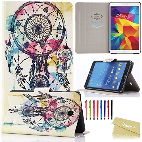 Galaxy Tab 4 8.0 Case, Dteck(TM) Slim-fit Fashion Vintage Pattern PU Leather Case with [Auto Sleep/Wake Feature] Hard Back Cover for Samsung Galaxy Tab 4 8.0 Inch SM-T330 (01 Dream Catcher)