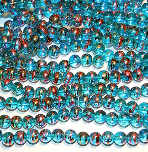 Bead Jewelry Making Ocean Blue 8mm Round Multi-Color Metallic Swirl Drawbench Glass Beads 32