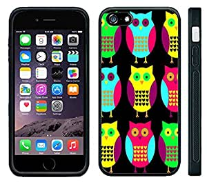 XiFu*MeiApple iPhone 6 Black Rubber Silicone Case - Cute Owls #2 Bright Colors Owl pattern Print NeonXiFu*Mei