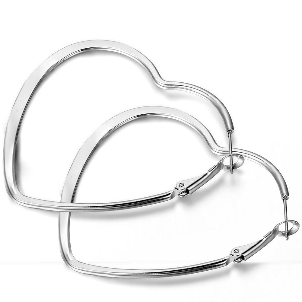 Flongo Women's Charm Stainless Steel Heart Shape Huggie Hinged Earring FLG01778