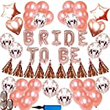 Rose Gold Bachelorette Party Decorations Kit - Bride to Be Rose Gold Balloons Banner | Rose Gold Latex Balloons & Confetti Balloons | Star Love Balloons Tassels -Hen Party Bridal Shower Supplies