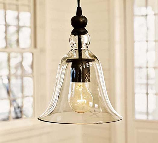 WINSOON Ecopower 1 Light Vintage Hanging Big Bell Glass Shade Ceiling Lamp Pendent Fixture