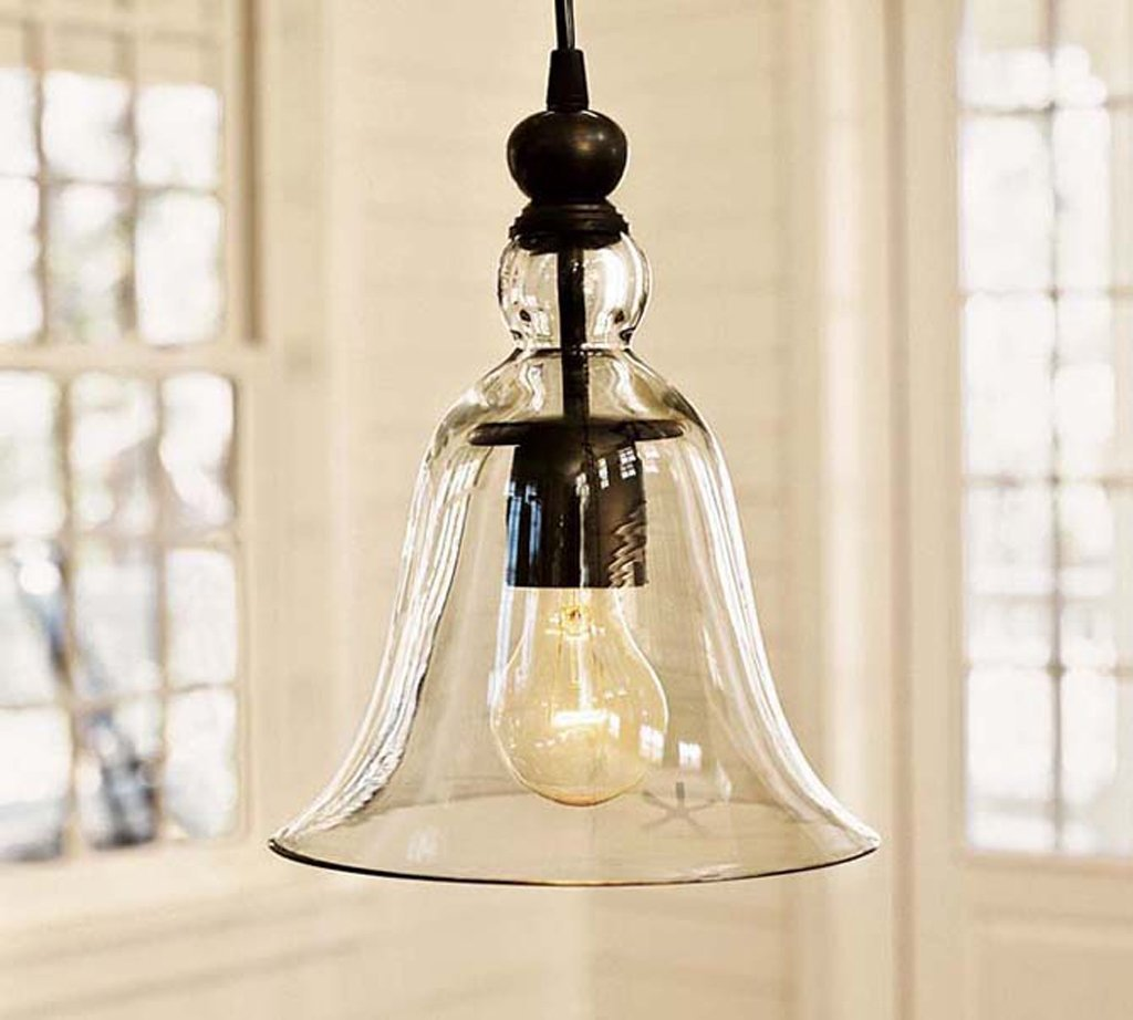 WINSOON Ecopower 1 Light Vintage Hanging Big Bell Glass Shade Ceiling Lamp Pendent Fixture by WINSOON