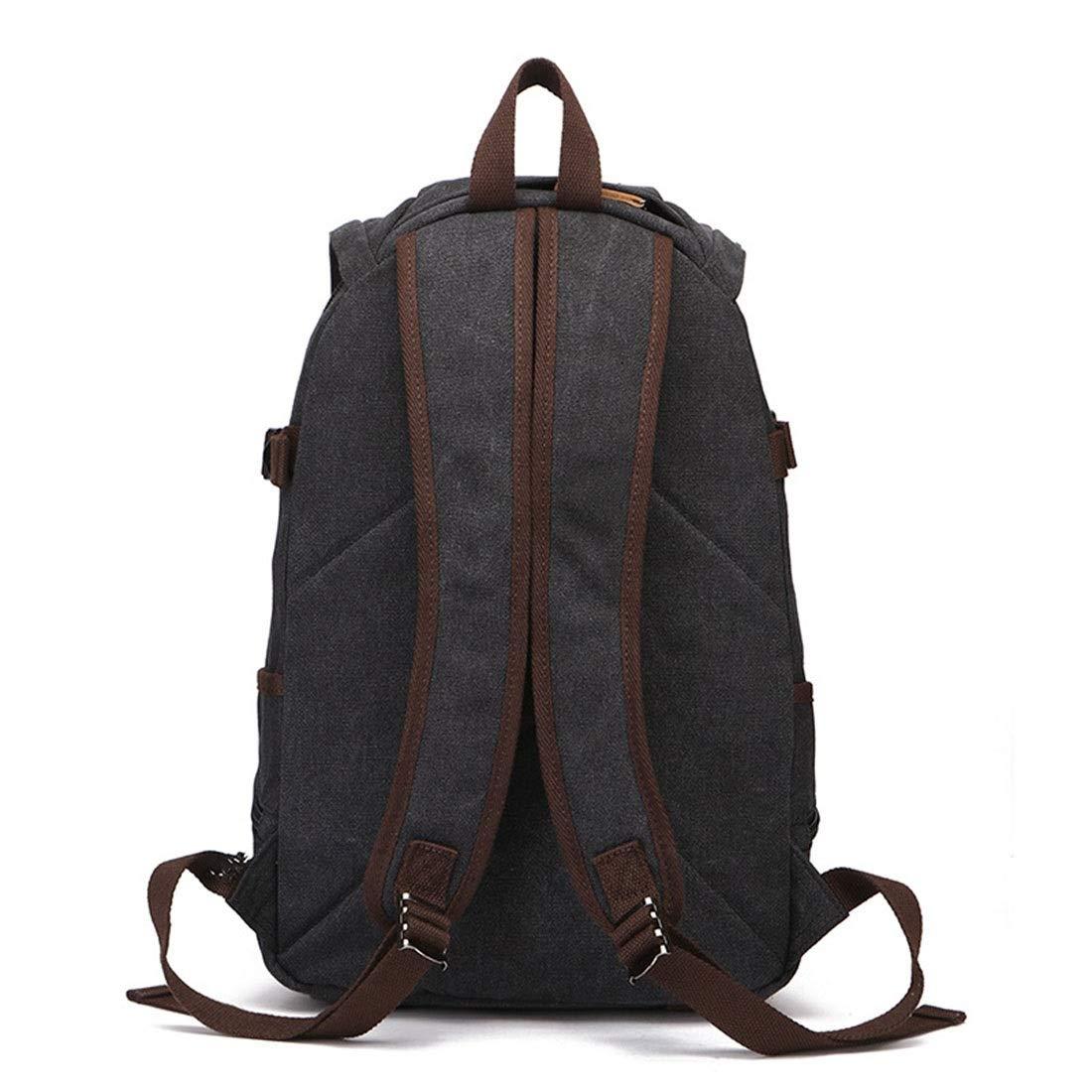 Ryggsäck män/kvinnor ryggsäck dagväska vattentät vintage dragkedja kanvas skola laptop väska utomhus vandring män ryggsäck (färg: svart) Svart