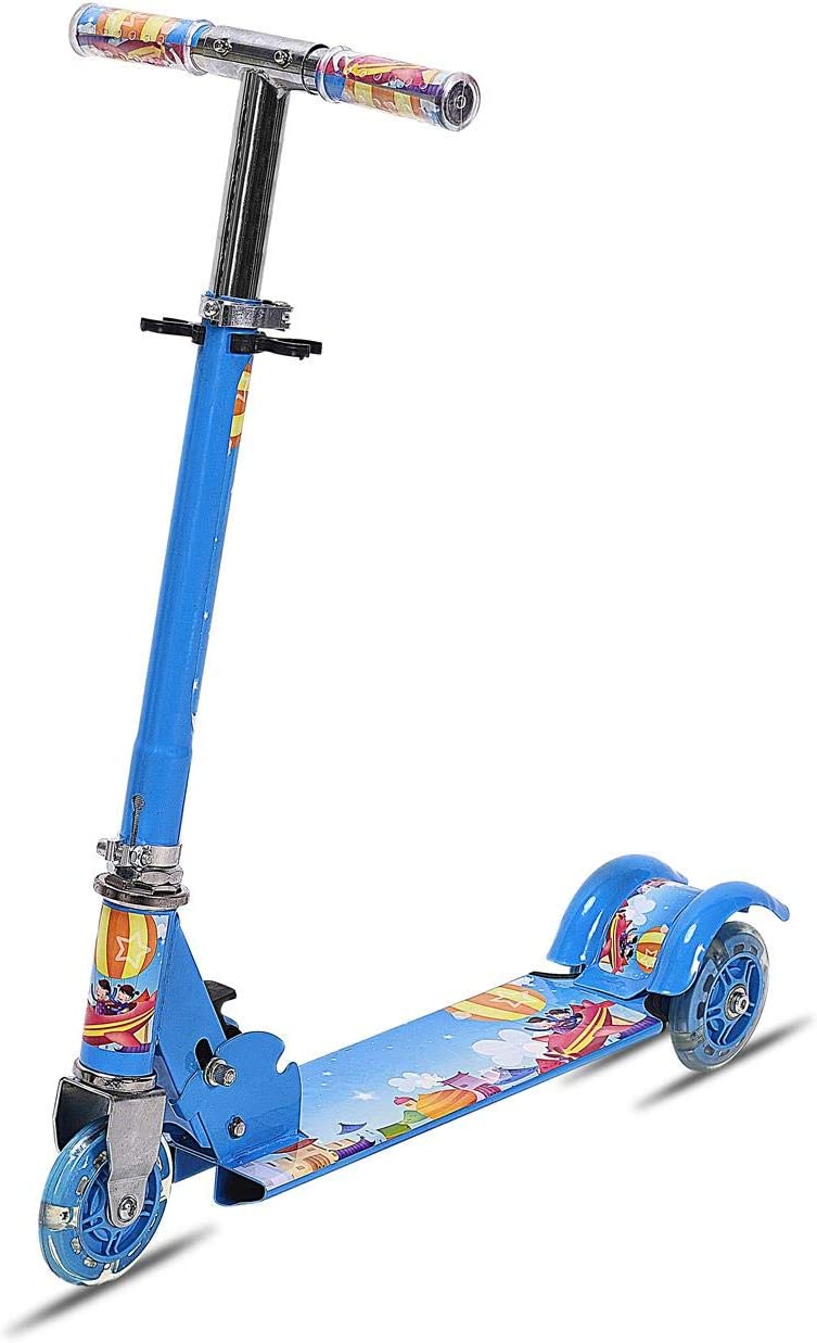 Height Adjustable Folding Kids Alloy Three PU Wheels Foot Scooter Gifts US