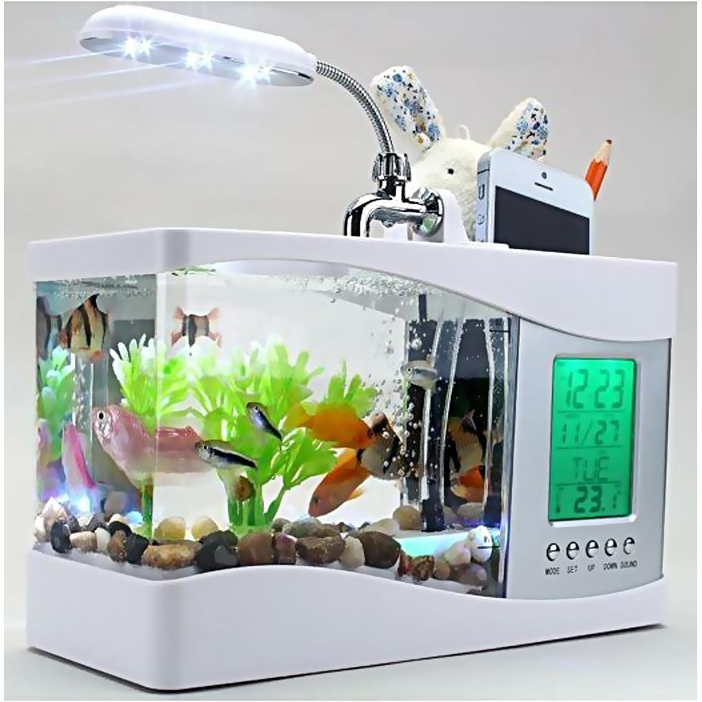 Mini USB Escritorio Pantalla LCD Acuario de Reloj Pecera Luz Lámpara Blanca / Negro - Blanco: Amazon.es: Hogar